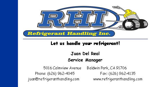 RHI Refrigerant Handling Inc. Juan Del Real
